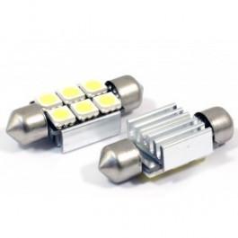 2 AMPOULES NAVETTES À LED EFFET XENON C5W 40MM